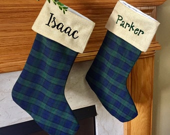 Monogram Christmas Stocking - Navy and Hunter Green Plaid Personalized Christmas stocking - Blackwatch plaid - family Christmas stockings