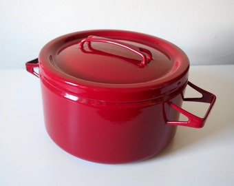 RESERVED FOR FIONA Dark Red Enamel Pot with Lid / 3 Qt. Sauce Pan / Vintage Danish Modern Cookware