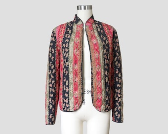 Asian Style Open Front Quilted Washi Print Jacket Sz 12