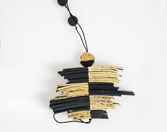 Black Leather Tassel Long Statement Necklace, Gold Dipped Contemporary Necklace,