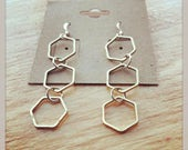 HEX sterling silver and bronze hexagon dangle earrings