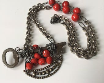 Skeleton Key and Red Bead Necklace. Handmade Antique Inspired Beauty