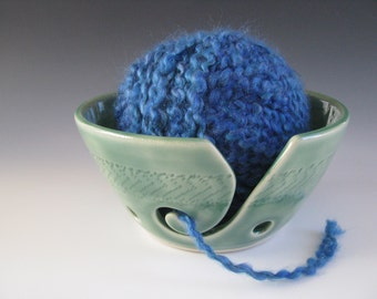 Ceramic Pottery Yarn Bowl Knitting Bowl in Celadon Green with Chattering