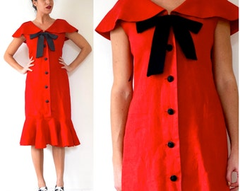 Vintage 80s does 50s Rickie Freeman for Teri Jon Crisp Red Linen Button Front Sailor Collar Wiggle Dress (size medium, large)
