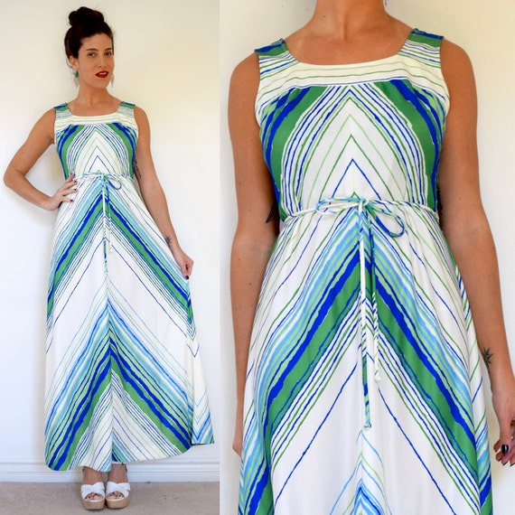 Vintage 70s Sea and Sky Green and Blue Chevron Striped A Line Maxi Dress (size medium)