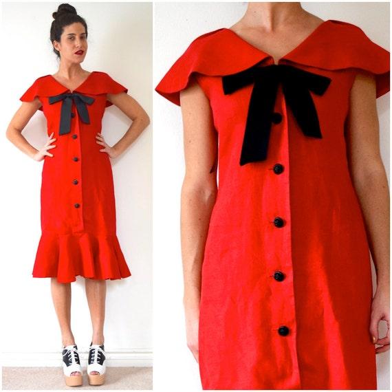 Vintage 80s does 50s Rickie Freeman for Teri Jon Crisp Red Linen Button Front Sailor Collar Wiggle Dress (size medium, large)