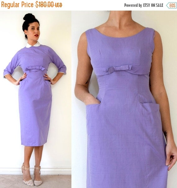 JANUARY SALE / 20% off Vintage 60s Lavender Cotton Two Piece Wiggle Dress with Matching Peter Pan Collar Button Back Blouse (size small, med