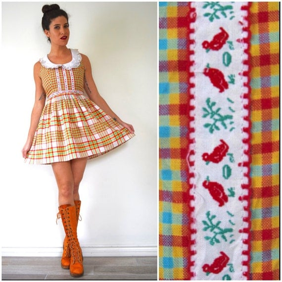 SUMMER SALE / 20% off Vintage 60s 70s Bread Crumbs Plaid Mini Dress with Peter Pan Collar (size xs, small)