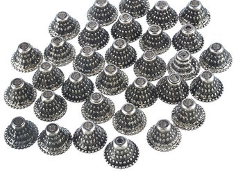 300 Pack ANTIQUE SILVER TONE Dot Bell Bead Caps for 14-20mm Beads Free Shipping