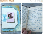 ON SALE 20% Vintage 1940/40s old French fancy postcard adorned with ribbons / gilt paper/pleated organdi /Love letter inside