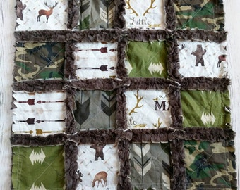 Camouflage Minky Lovey - Camo Lovey - Camouflage Baby Gift - Baby Boy Gift - Camo Baby Gift - Bears, Deer, Moose - Security Blanket