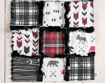Woodland Plaid Minky Lovey - Woodland Mini Quilt - Moose Lovey - Bear Lovey - Baby Boy Gift - Woodland Baby Gift - Red and Black Plaid