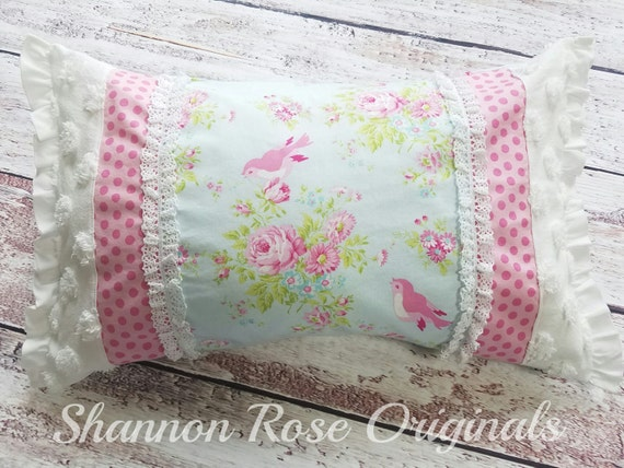 Shabby Chic Chenille Pillows : Vintage chenille bird country roses shabby chic throw pillow