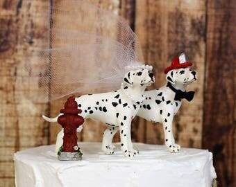 Dog Cake Topper, Fireman Wedding Cake Topper, Dalmatian Animal Cake Topper, Dog Lover Cake Topper, Grooms Cake, Mans Best Friend Cake Topper