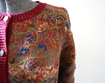 SALE Vtg Fair Isle floral embroidery cardigan, TALBOTS silk cotton wool linen - women large L medium