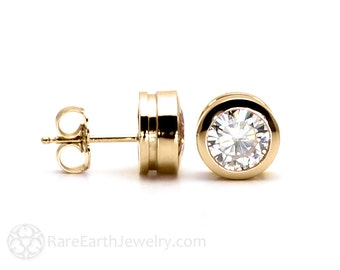 Moissanite Stud Earrings Moissanite Earrings Bezel Set Round Stud Earrings Posts Forever Brilliant