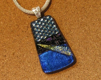 Dichroic Pendant - Fused Glass Pendant - Dichroic Jewelry - Dichroic Necklace - Blue Dichroic Pendant - Fused Glass Jewelry - Glass Pendant