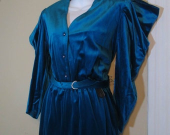 Velvet 70s Jumpsuit wild Bowie sleeves 40s style Turquoise vintage romper Rhinestone buttons and Buckle Blue fuzzy 70s Romper One Piece M L
