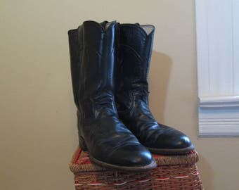 Vintage Black Roper Boots Justin Black prairie boots granny Roper Cowgirl boots USA pull on size 6 B Cowboy Black Justin boots