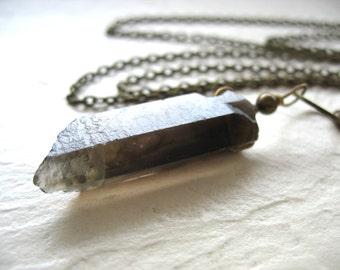 Smoky Quartz Crystal Necklace, Smoky Quartz Crystal Point Gemstone Chain Necklace, Smoky Quartz Pendant Stone Necklace, Stone Necklace