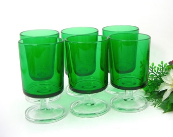 Set of 6 Luminarc Green Stemmed Glasses, Vintage 1970, Christmas Parties Entertaining, Holds 4 Oz, Liqueur Cordial, Bar Ware, 4 Inches Tall