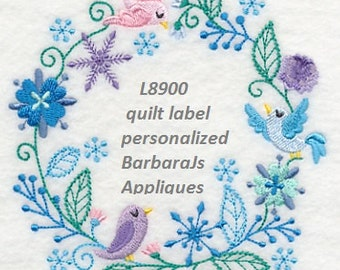 L8900 Frosty Winter Bird Quilt Label  machine embroidered personalized