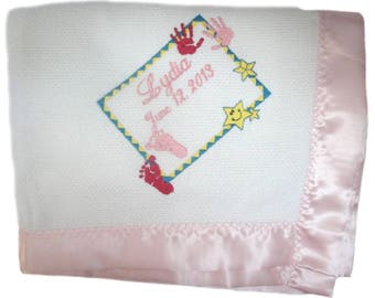 Cotton Basketweave Blanket with Blue OR Pink True Satin Binding Custom Embroidered with Baby Hands and Feet and Personalized