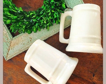 What a Mug... Antique Vintage Pair of Ironstone Mugs Tankard Beer Steins Farmhouse Decor Wedding