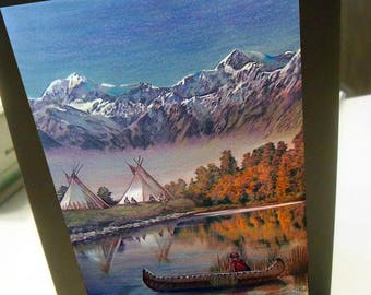 greeting card Native American indian canoe teepee reflection mountain blank card