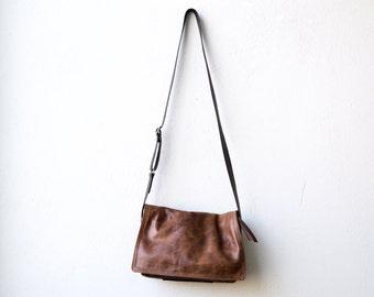 LITTLE BOOK BAG - waxed canvas & leather bag - crossbody  bag - canvas messenger bag - unisex