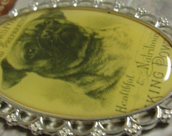 Blue Moon Manor House Pug Dog Metal and Epoxy  Pendant
