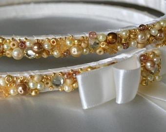 Stefana Crowns, Ivory Stefana, Gold Stefana, Orthodox Stefana, Greek Wedding Crowns, Greek Orthodox Stefana, Beaded Stefana, Pearl Stefana