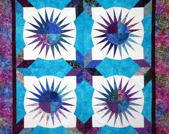 """New York Beauty Plus  Star Quilt Top 46"""" Batiks & Solid White Ready to Ship"""