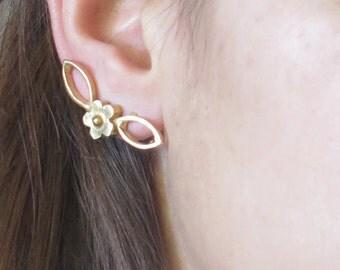 Gold Ear Climbers, Gold Ear Cuffs,  Gold Ear Crawlers, Gold Cuff Earrings, gold Stud Earrings, Ear Jackets Gold