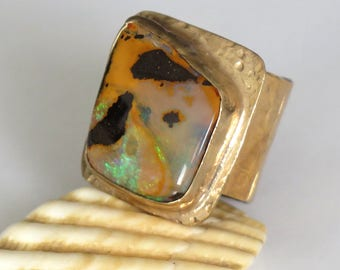 Gold Opal Ring, Square Ring, Unique Opal ring, Unique Opal, Opal Ring Gold, Yellow Opal Ring, Handmade Opal Ring, Wide Opal Ring