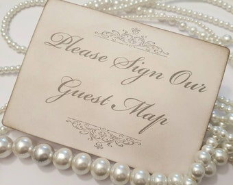 Wedding Sign, Guest Map Sign Grey, Please sign our map, Cards Sign, Wedding Table Numbers