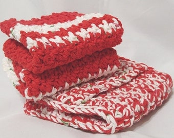 Crocheted Pocket Potholder and Dishcloth Set in Red, White and Green