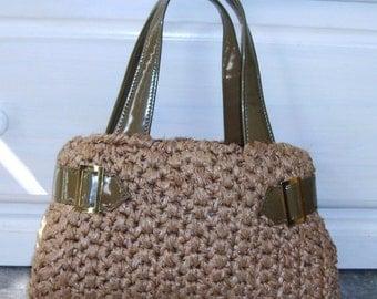 ON SALE Vintage Crochet Purse, Retro Handbag, Kitsch, Brown Olive, ADG Imports, Vinyl Trim, Mad Men, 1960s 1970s