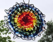 Small Round Rainbow Fused Glass Mandala Tie Dye Abstract Suncatcher