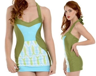 Tori Halter Swimsuit Swim Dress in Green Fish Print