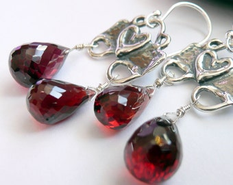 Artisan Sterling Silver Heart Double Large Gemstone Garnet Briolettes OOAK Valentines Love Hippie Chic Boho Gift for Her Statement Earrings
