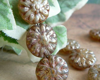 Champagne Daisy Czech Glass Bead Flower Bronze Luster Picasso 14mm (8)