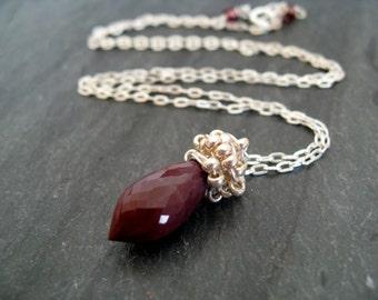 As seen on The Vampire Diaries Caroline S5E516 Bite of the Vampire Gemstone necklace Vitrine Marsala