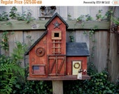 SPRING SALE Large Primitive Folk Art Country Barn Birdhouse