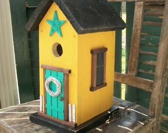 Folk Art Primitive Garden Sunshine Yelolow Cottage Birdhouse