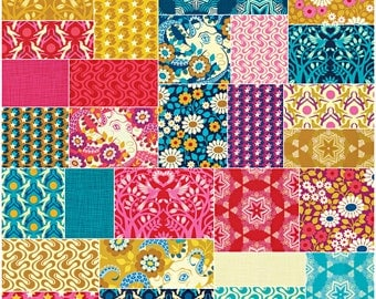 "SQ64 Heather Bailey HELLO LOVE Precut 5"" Charm Pack Fabric Quilting Cotton Squares Free Spirit"