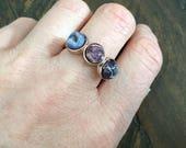Dara Ettinger VIVIAN Triple Druzy Ring in Rose Gold/Purple sz 8