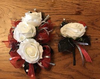 Red Black White Rose Corsage Set