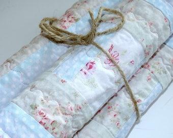Shabby Cottage Chic Baby Girl Burp Cloths Set of Three