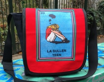 Red La Sullen Teen Canvas Messenger Bag, Crossbody Daybag, Mexican Loteria Courier Bag, Teen School Bag